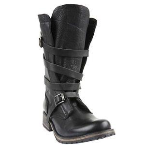 Steve Madden Banddit Black Leather Strap Boots